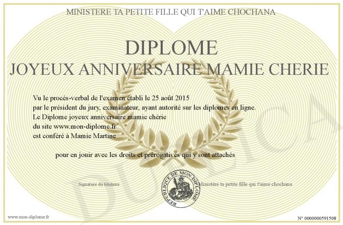 Diplome Joyeux Anniversaire Mamie Cherie