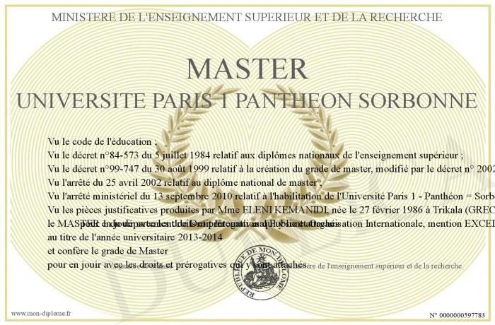 diplome universitaire paris 1
