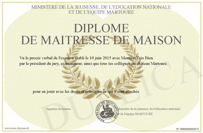Diplome De Maitresse De Maison
