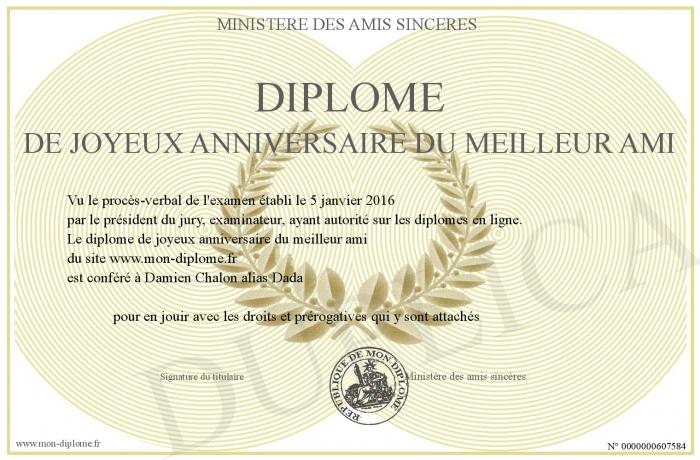 Diplome De Joyeux Anniversaire Du Meilleur Ami