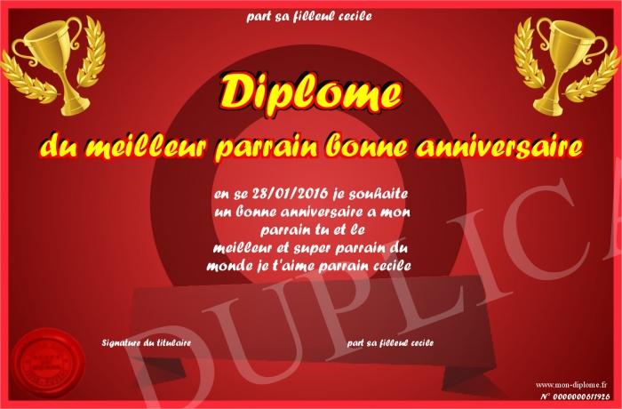 Diplome Du Meilleur Parrain Bonne Anniversaire