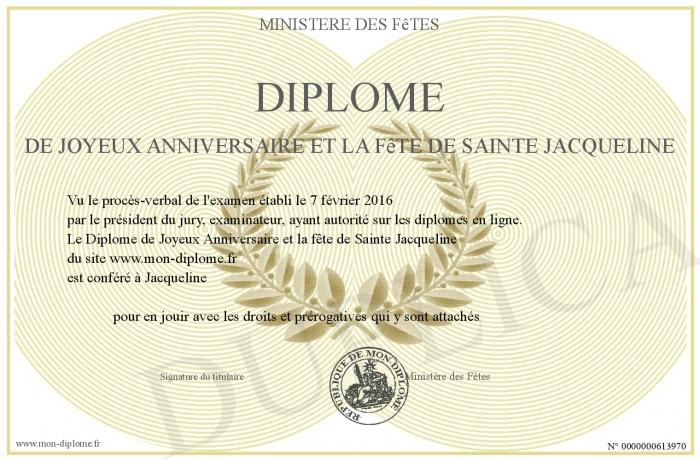 Diplome De Joyeux Anniversaire Et La Fete De Sainte Jacqueline