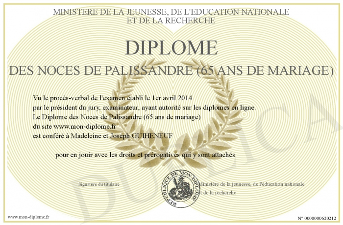 Diplome des noces de palissandre 65 ans de mariage - 8 ans de mariage noce de ...