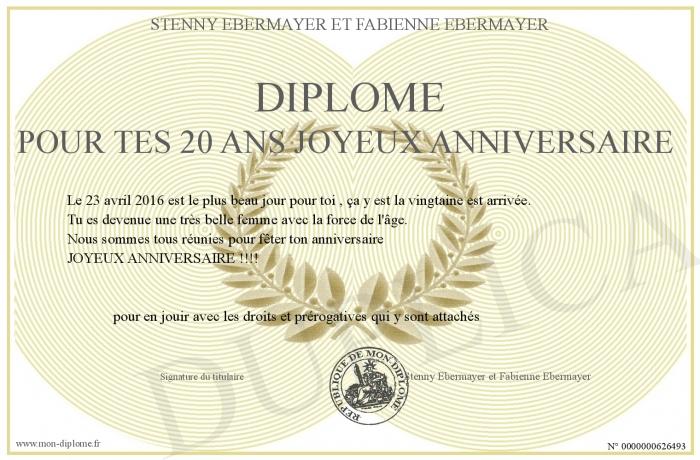 Diplome Pour Tes 20 Ans Joyeux Anniversaire