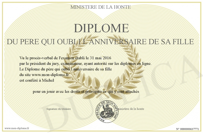 Diplome Du Pere Qui Oubli L Anniversaire De Sa Fille