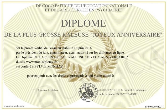Diplome De La Plus Grosse Raleuse Joyeux Anniversaire