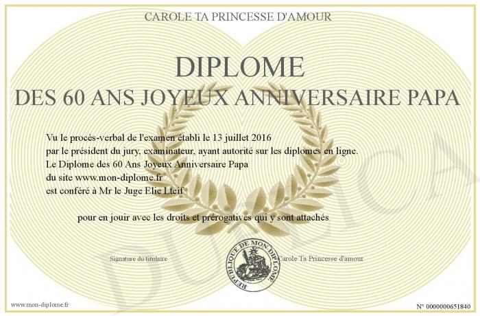 Diplome Des 60 Ans Joyeux Anniversaire Papa
