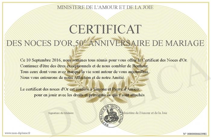 Certificat Des Noces D Or 50 Anniversaire De Mariage