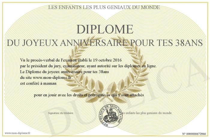 Diplome Du Joyeux Anniversaire Pour Tes 38ans
