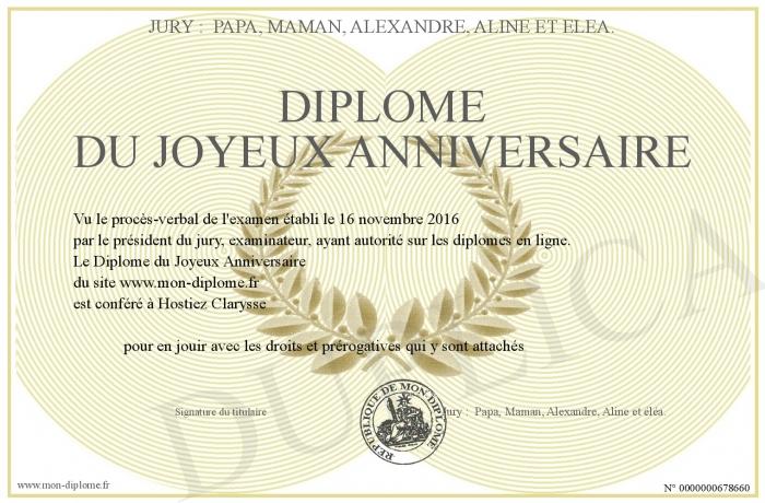 Diplome Du Joyeux Anniversaire