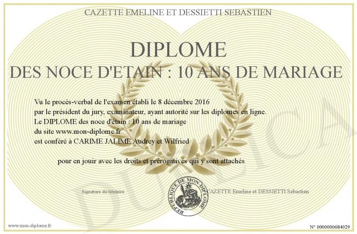 Diplome des noce d etain 10 ans de mariage - 8 ans de mariage noce de ...