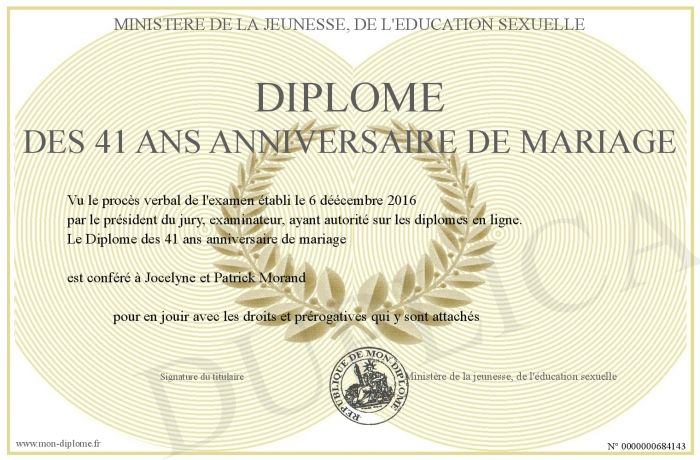 Diplome Des 41 Ans Anniversaire De Mariage