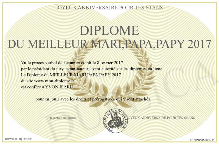 Diplome Du Meilleur Mari Papa Papy 2017