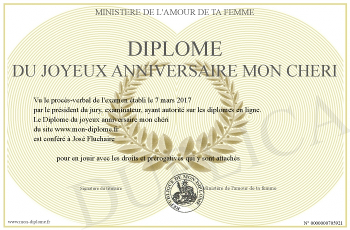 Diplome Du Joyeux Anniversaire Mon Cheri