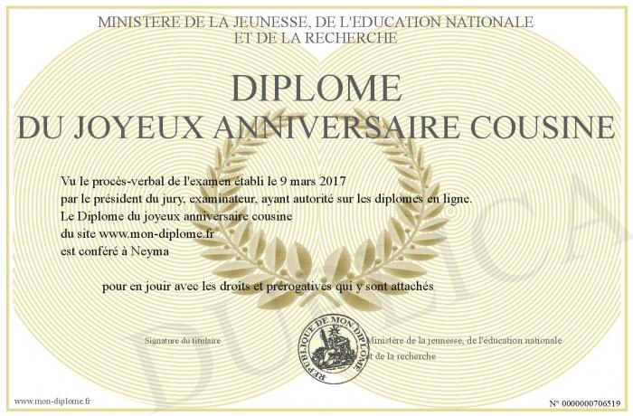 Diplome Du Joyeux Anniversaire Cousine