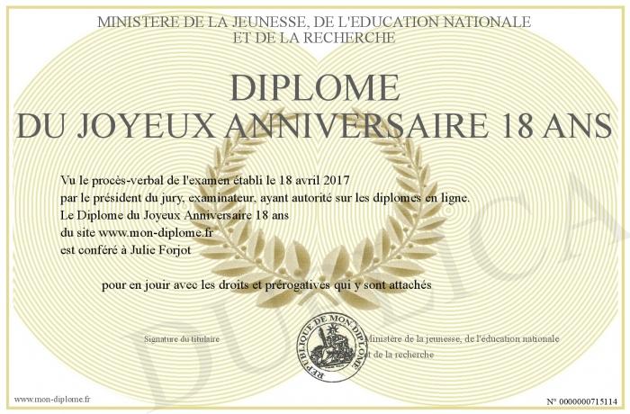Diplome Du Joyeux Anniversaire 18 Ans