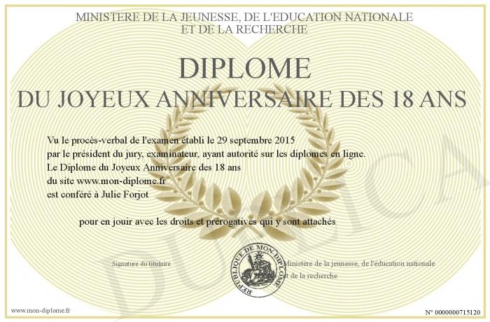 Diplome Du Joyeux Anniversaire Des 18 Ans