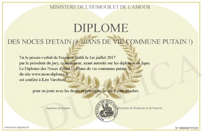 Diplome Des Noces D Etain 10ans De Vie Commune Putain