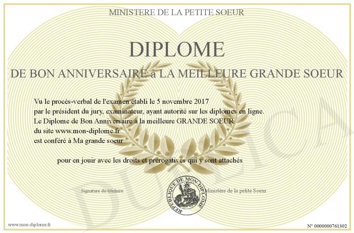 Diplome De Bon Anniversaire A La Meilleure Grande Soeur