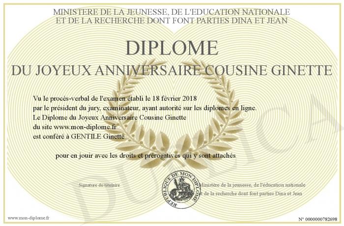 Diplome Du Joyeux Anniversaire Cousine Ginette