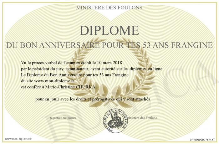 Diplome Du Bon Anniversaire Pour Tes 53 Ans Frangine