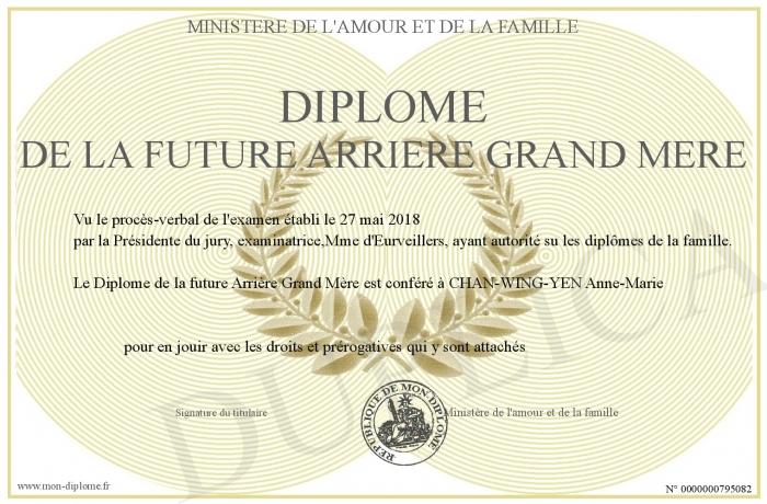 Diplome De La Future Arriere Grand Mere