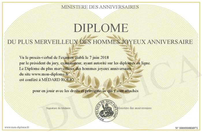 Diplome Du Plus Merveilleux Des Hommes Joyeux Anniversaire