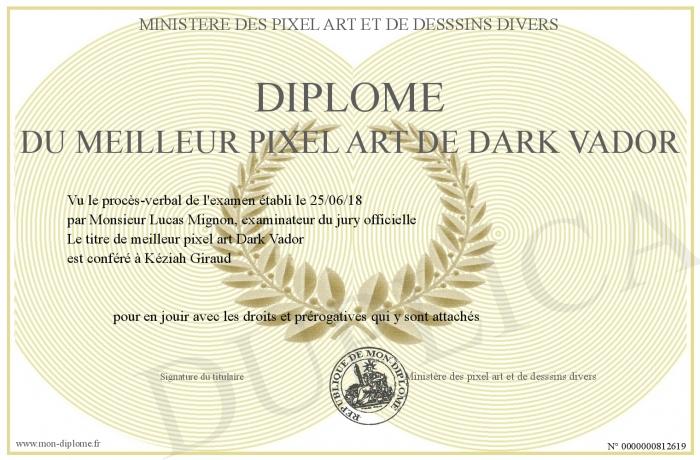 Diplome Du Meilleur Pixel Art De Dark Vador