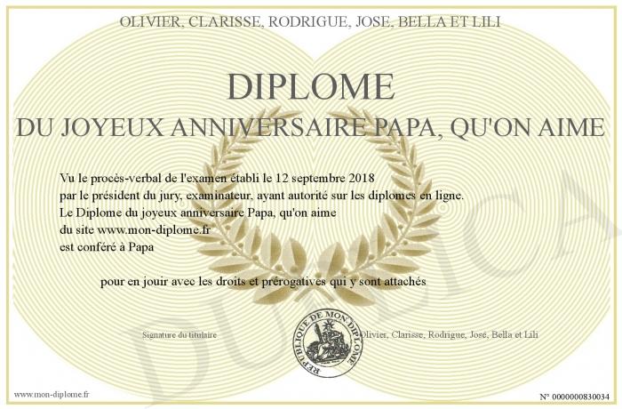 Diplome Du Joyeux Anniversaire Papa Qu On Aime