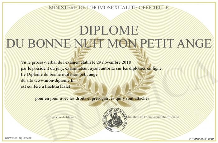 Diplome Du Bonne Nuit Mon Petit Ange