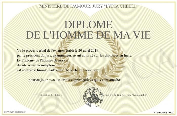 Diplome De L Homme De Ma Vie