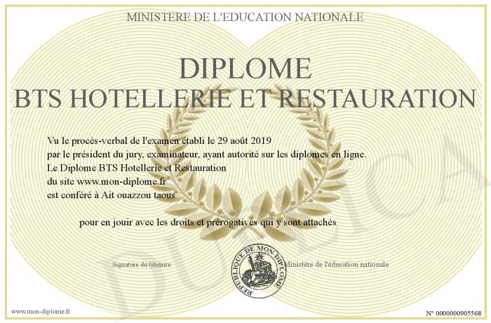 Bts Hotellerie Restauration