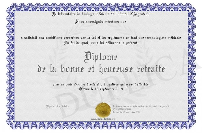 Diplome De La Bonne Et Heureuse Retraite